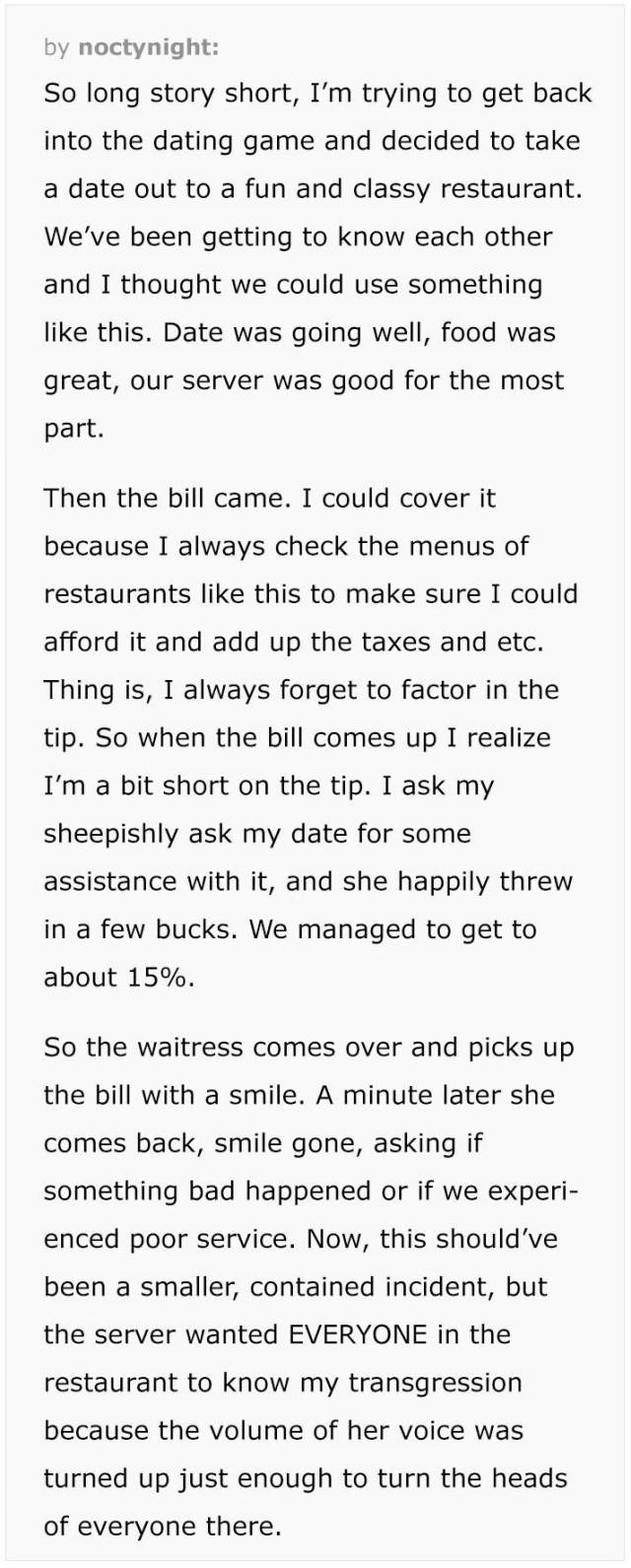 "Waitress Ruins Guy's Date Because Of ""Too Small Of A Tip"""
