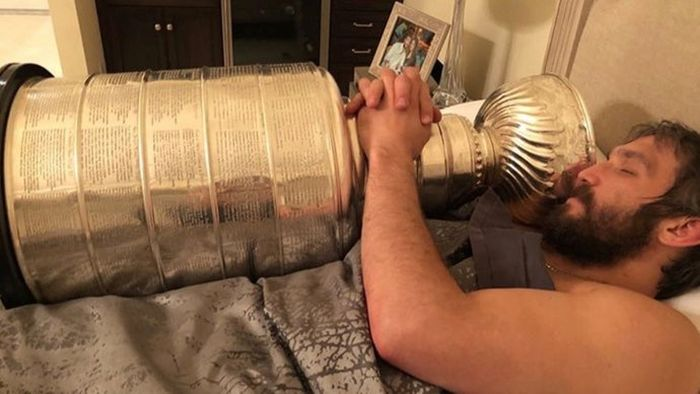 Ovechkin In Bed With the Stanley Cup