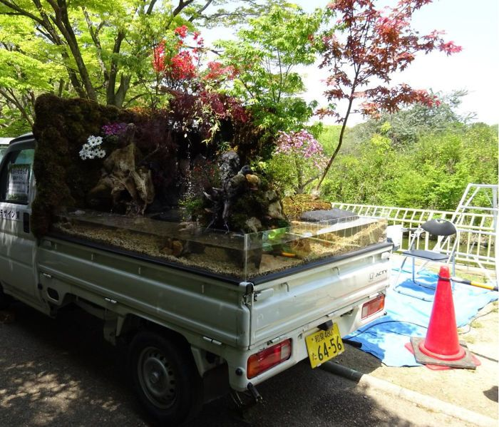 Japanese Compete To See Who Can Turn The Back Of Their Truck Into The Best Garden