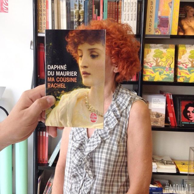 Bookstore Customers Strategically Posing With Seamlessly Matching Book Covers