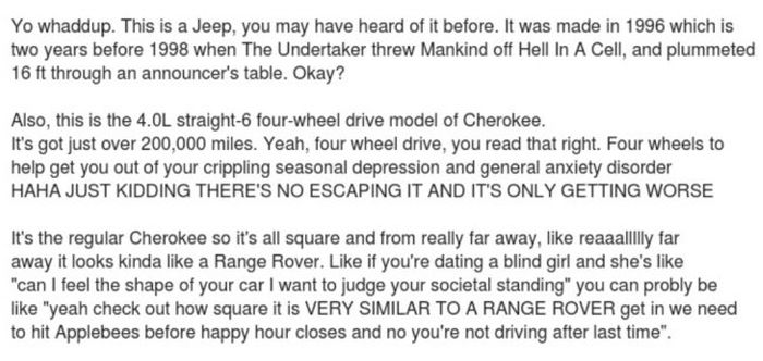 Cool Craigslist Ad For 96 Jeep 'Range Rover' Cherokee