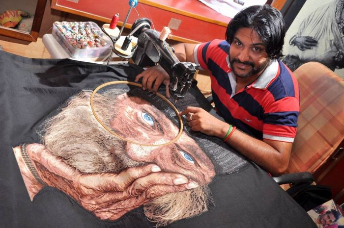 """Needle Man"" Is The World's Only Sewing Machine Painter"