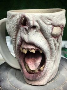 Very Scary Zombie Head Coffee Mugs