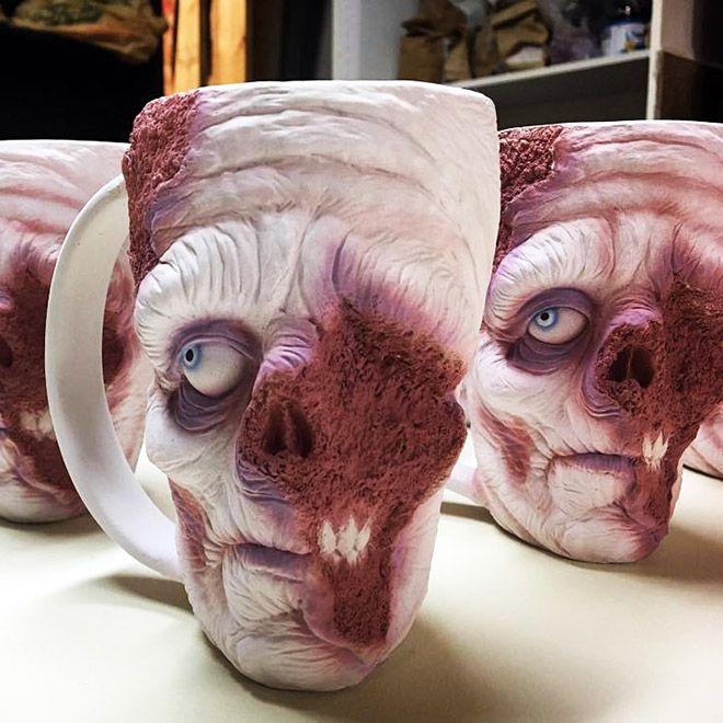 Very Scary Zombie Head Coffee Mugs