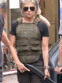 "Linda Hamilton On The Set Of The New ""Terminator"""