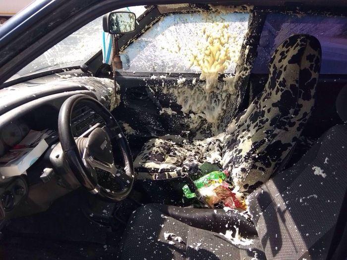 Mounting Foam Blew Up Inside A Car