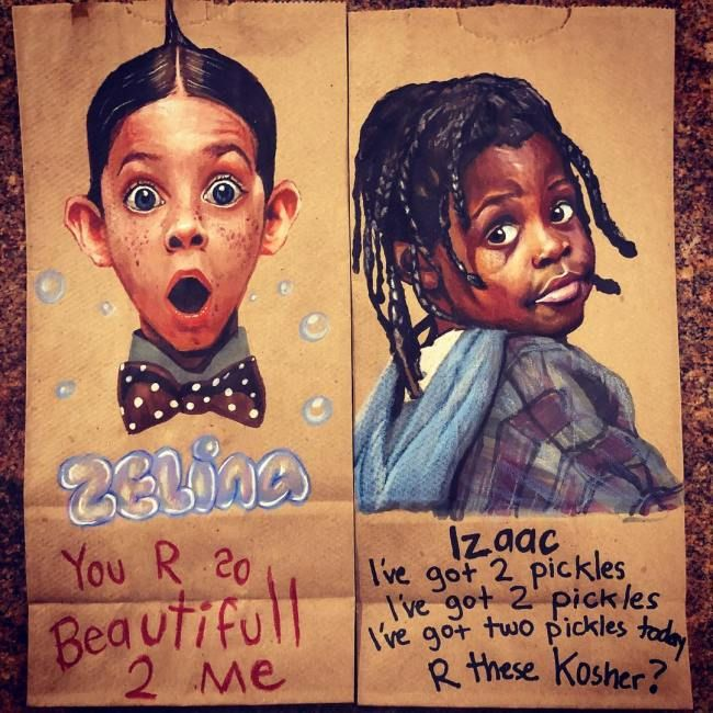 Dad Draws Art On His Kid's Lunch Bags