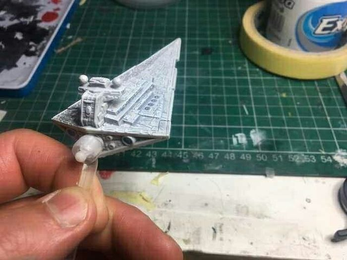 A Small Model Of The Star Destroyer With A Little Cotton Wool