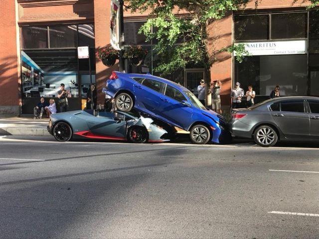 Lamborghini Beneath A Honda Civic