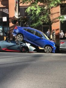 Lamborghini Beneath A Honda Civic