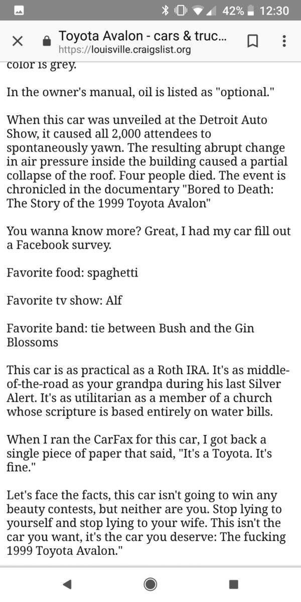 Toyota Avalon 1999 Ad On Craigslist