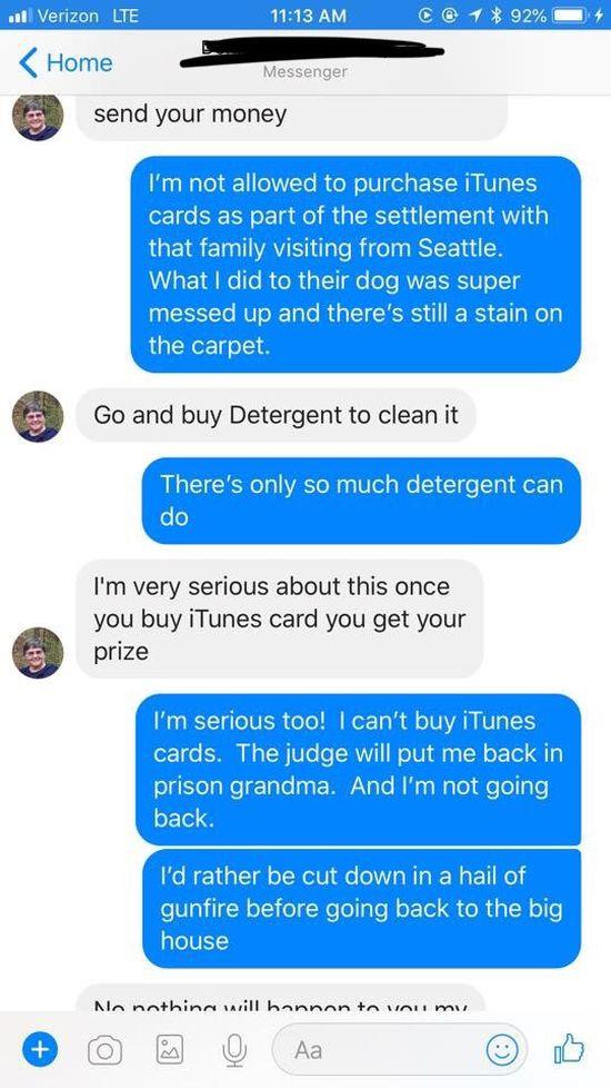 Woman Trolls iTunes Scammer
