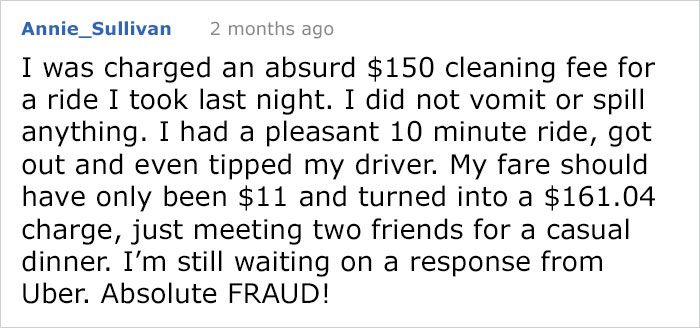 Uber Scams A Rider For $157 Cleaning Fee