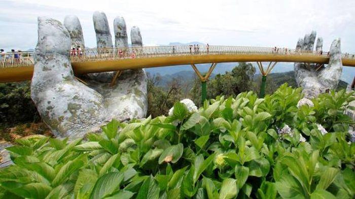 Bridge On Two Giant Palms In Vietnam