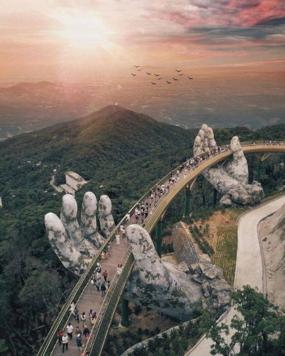 Bridge On Two Giant Palms In Vietnam