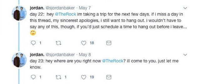 Guy Spends 100 Straight Days Asking The Rock To Hang With Him On Twitter