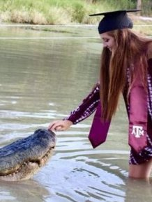 A student From The USA And An Alligator