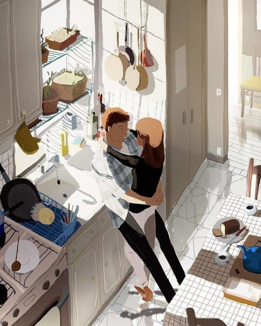 Husband Turns Everyday Moments with His Wife into Heartwarming Illustrations