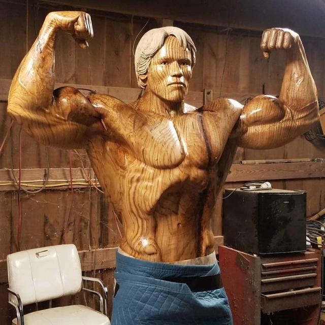 Wooden Life-Size Statue Of Arnold Schwarzenegger