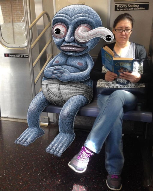 Artist Adds Monsters Next To Strangers On The Subway