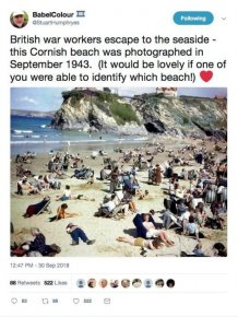 """Time traveller"" Using Mobile Phone In 1940s Cornwall Beach Photo"