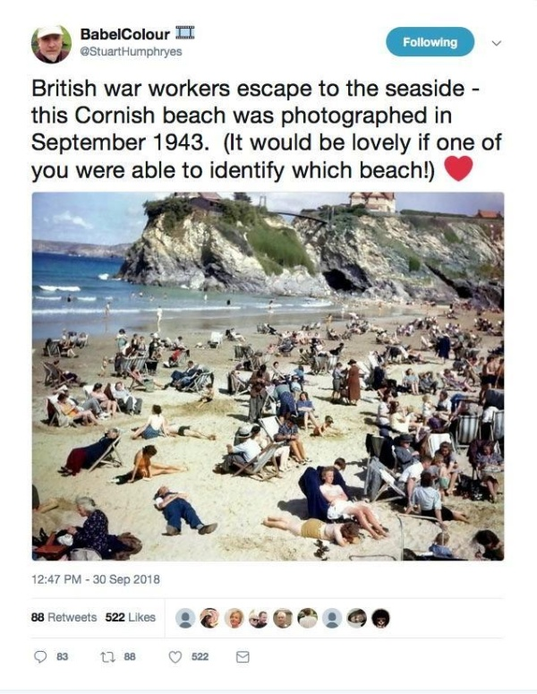 """""""Time traveller"""" Using Mobile Phone In 1940s Cornwall Beach Photo"""