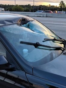 Flying Tow Hitch Hits Car On I-45