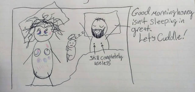 Wife Uses Simple Drawings To Explain To Her Husband Why She Is Always Tired Because Of Their Child