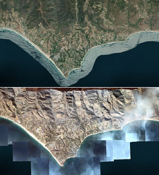 Malibu From Space Before And After Wildfires
