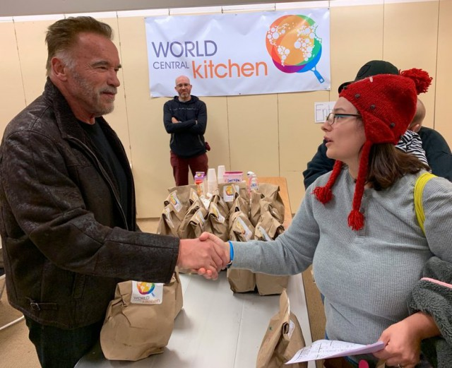 Arnold Schwarzenegger Helping California Wildfire Victims