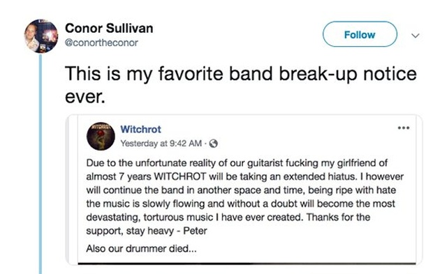 The Best Band Break-up Notice Ever
