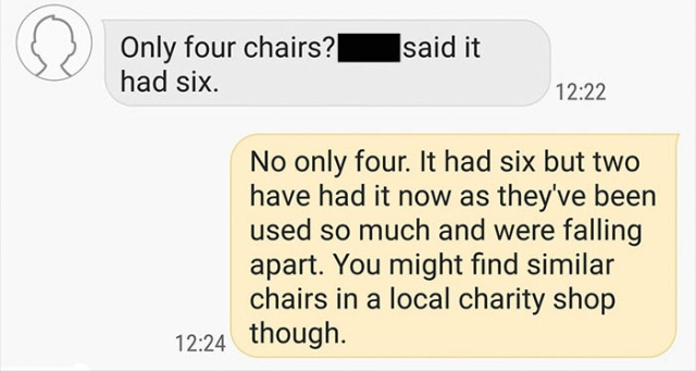 Man Offering Free Table and Chairs Almost Instantly Regrets It