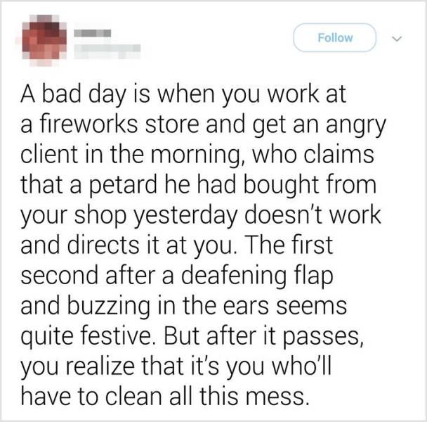 The Definition of a Bad Day, part 3
