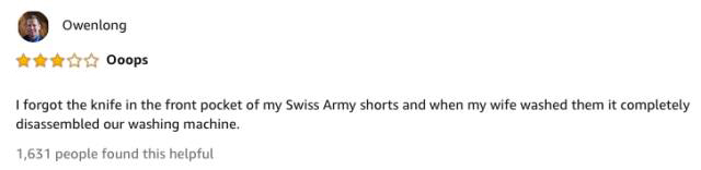 Funny Amazon Reviews Of $8,500 Swiss Army Knife