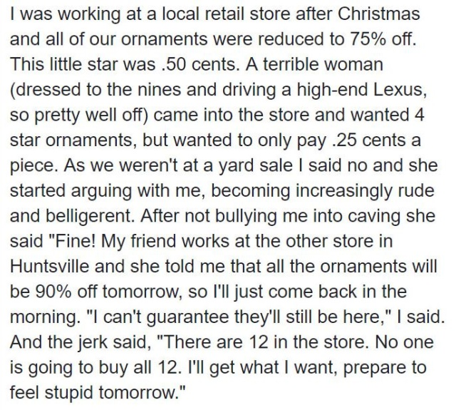 Rude Customer Gets Instant Karma From Spiteful Cashier Over Christmas Ornament