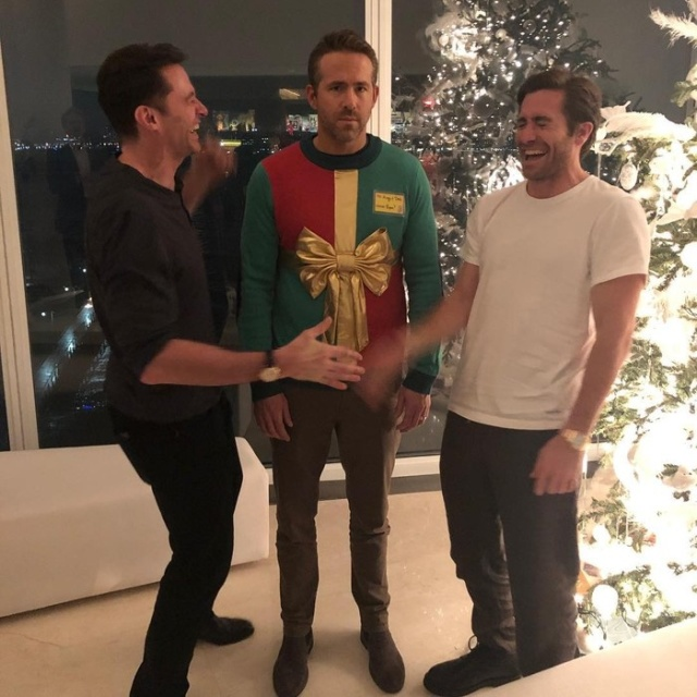 Hugh Jackman and Jake Gyllenhaal Laughing At Ryan Reynolds' Ugly Sweater
