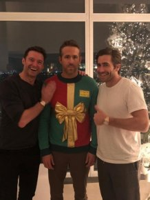 Hugh Jackman and Jake Gyllenhaal Laughing At Ryan Reynolds' Ugly Sweater