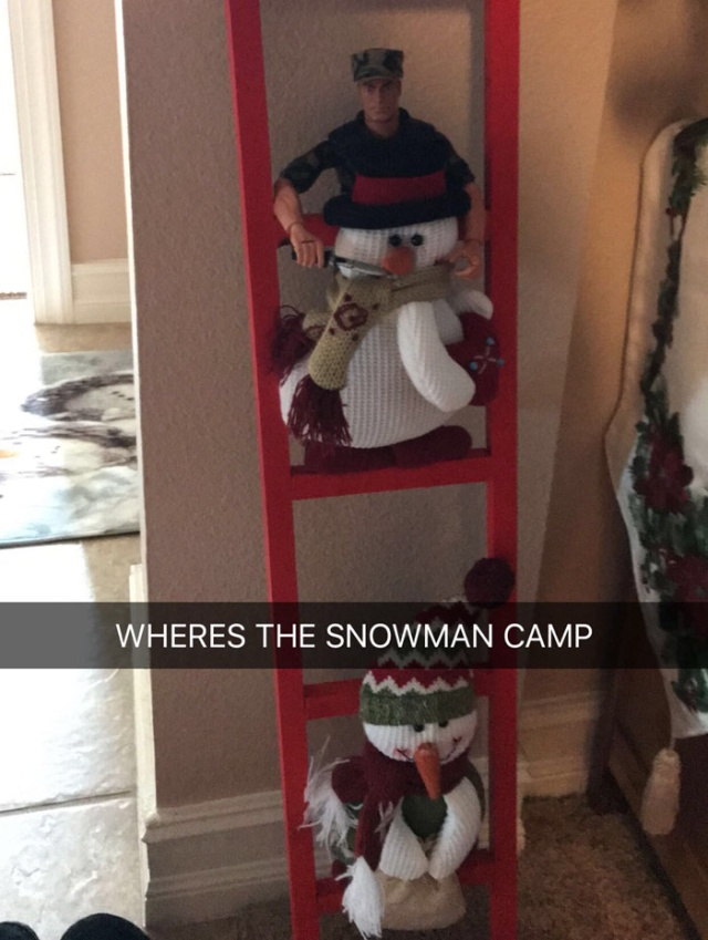 Every Christmas This Guy 'Improves' His Mom's Christmas Decorations With His Soldier Figurines And It's Hilarious