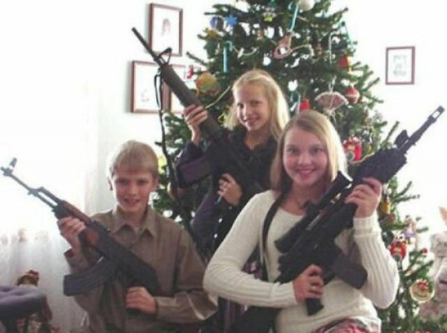Americans And Their Weapons On Christmas