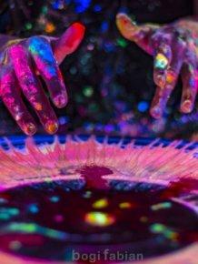 A Hypnotizing Potter's Wheel Under Ultraviolet Light