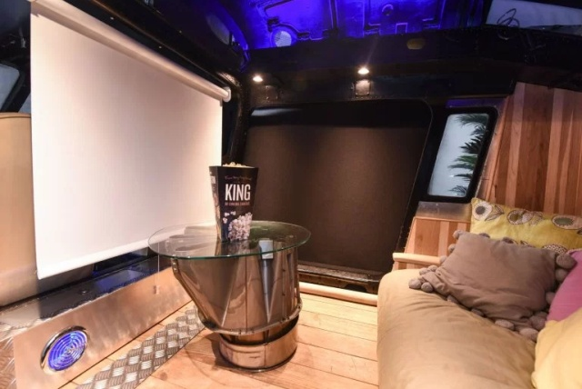 Woman Converts Helicopter Into Home Cinema