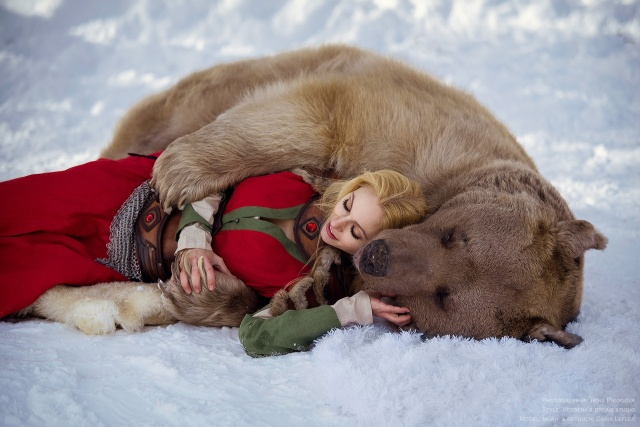 Girl And A Bear