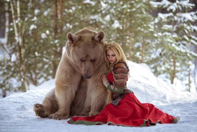 Girl And A Bear