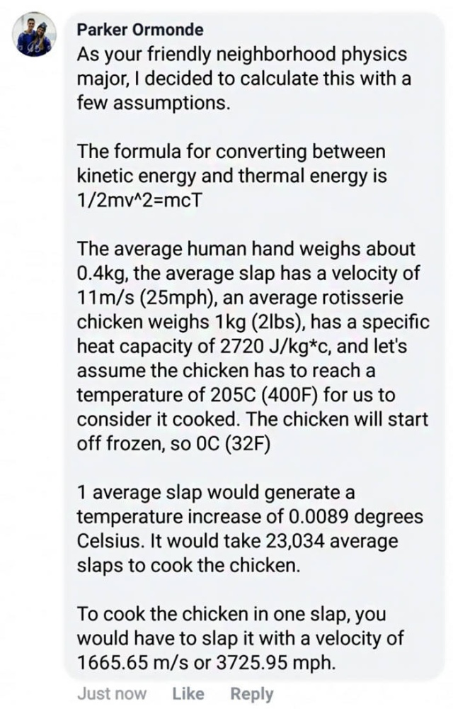 Physics Major Looks For A Way To Cook Chicken By Slapping It