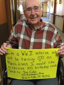 World War II Veteran Asks For 100 Birthday Cards