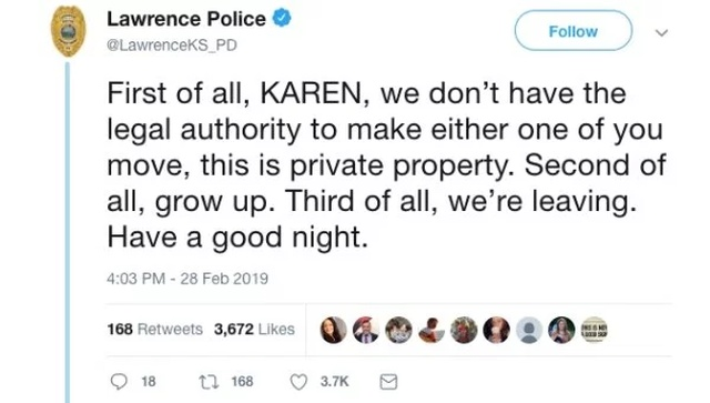 "The Lawrence Police Department, and the saga of ""Karen"" and ""Chad"""
