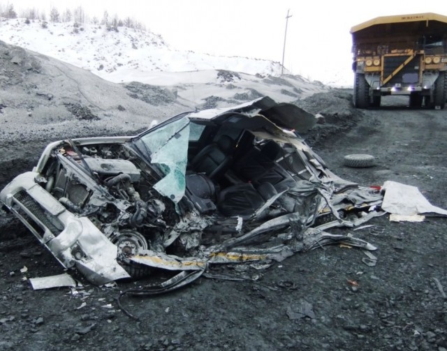 Dump Truck Accident. The Pickup Driver Walked Away Without Injuries
