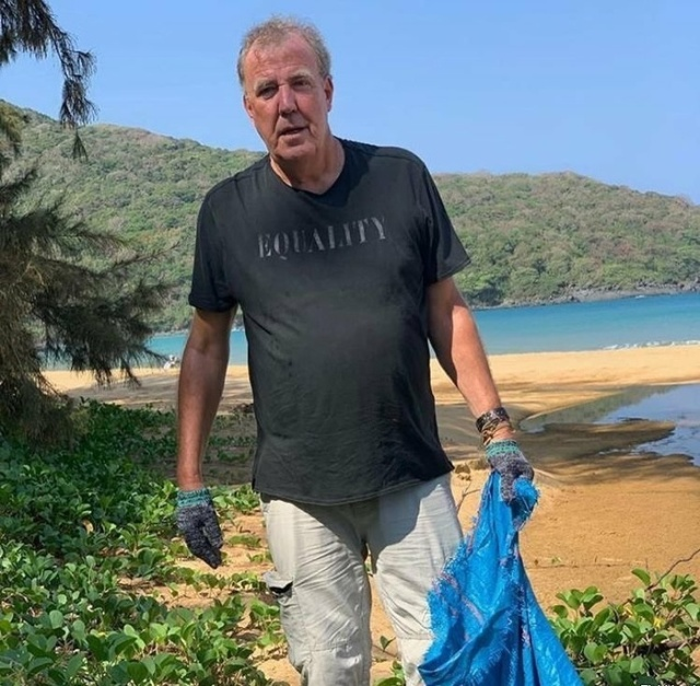 Jeremy Clarkson, During A Break In The Filming Of The Grand Tour, Helps To Clean Up Trash In Vietnam