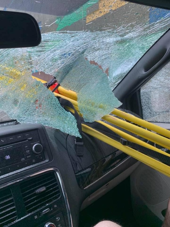 Metal Tripod Thrown Off A Motorway Bridge In California