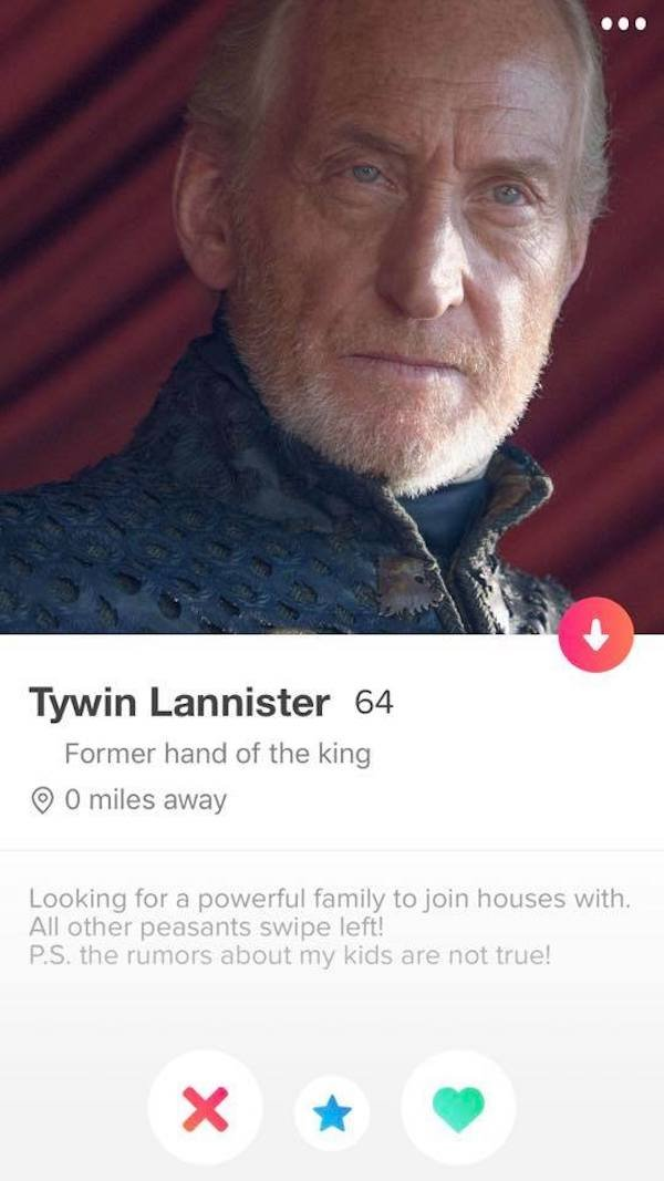Game of Thrones Tinder Profiles